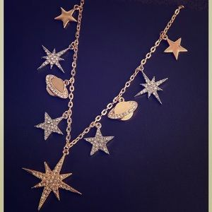 NWT BETSEY JOHNSON STARS & PLANETS NECKLACE